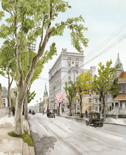 A depiction of Montreal's Sherbrooke Street in 1911. Illustration by Melinda Josie.