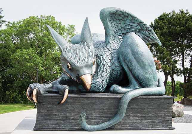 The University of Guelph's Gryphon statue, with its impish smile. Photo courtesy of Kamil Bialous.