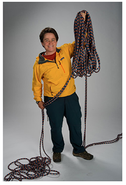 TA with her climbing gear.