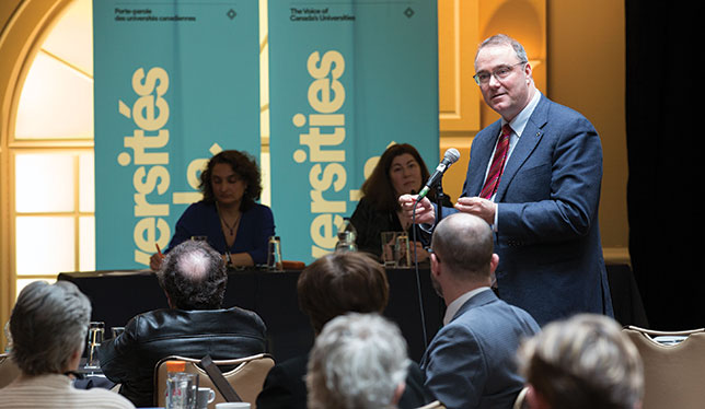 Universities Canada president Paul Davidson addresses the recent workshop on the value of the liberal arts held in Montreal.