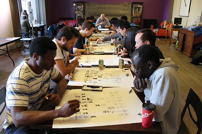 A charcoal chess tournament was hosted by Hart House. The documentation of the tournament was displayed at the Justina M. Barnicke gallery. Photo courtesy Justina M. Barnicke gallery.