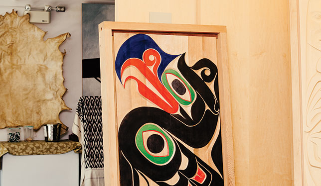 ECUAD student Edwin Neel carved the image of Thunderbird into this cedar door, titled Kulus, to honour his Kwakwaka'wakw and Nuu-chah-nulth heritage. He created it as part of the Opening Doors program last summer. Photo by Kamil Bialous.