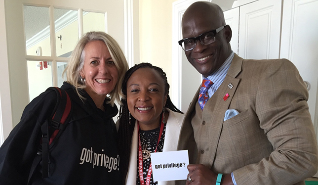 Kim Radersma (PhD student studying anti-racism education); Brock education prof and WPS organizer Dolana Mogadime; and WPS keynote speaker Eddie Moore. Photo courtesy of Brock University.
