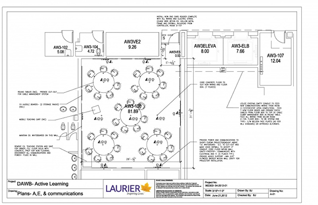 DAWB 3-106 (a.ka. the green room) layout at Wilfrid Laurier University. Photo courtesy of Wilfrid Laurier University.