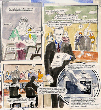Ted Yao depicted the mock trial he had his students put on. Photo courtesy of Queen's University.