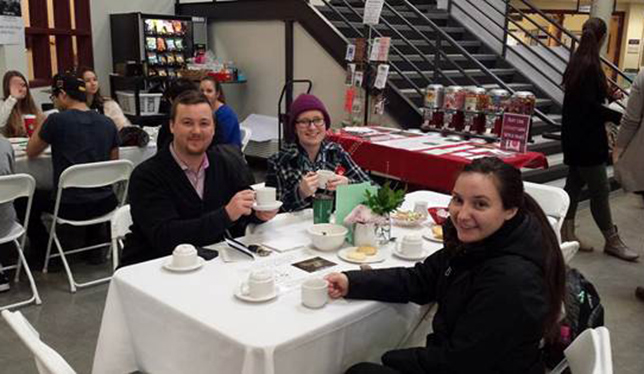 Students enjoy a cuppa at the 2015 Consent Tea.