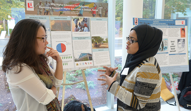 York's Centre for Refugee Studies students discuss higher education options for refugees. Photo courtesy of York University.