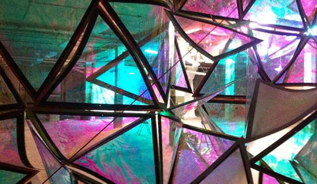A look at Aleks Bartosik's work with iridescent materials. Photo courtesy of Queen's University.
