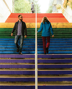 Vancouver Island University offers a fresh take on a historic symbol of LGBTQ pride with a new rainbow-coloured staircase on its Nanaimo campus. Photo by Kamil Bialous.