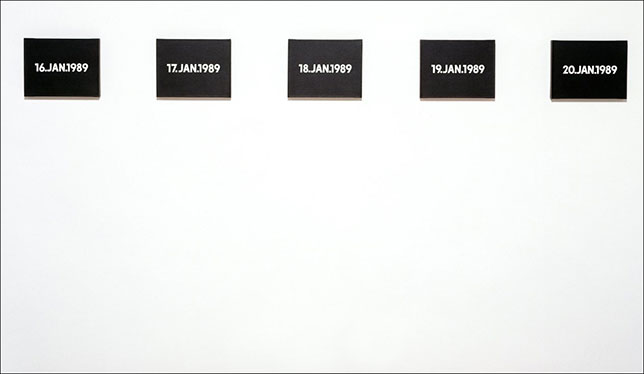 A selection from the Today series by On Kawara.