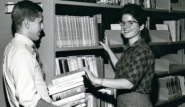 Students in the Brock University Library in 1964.