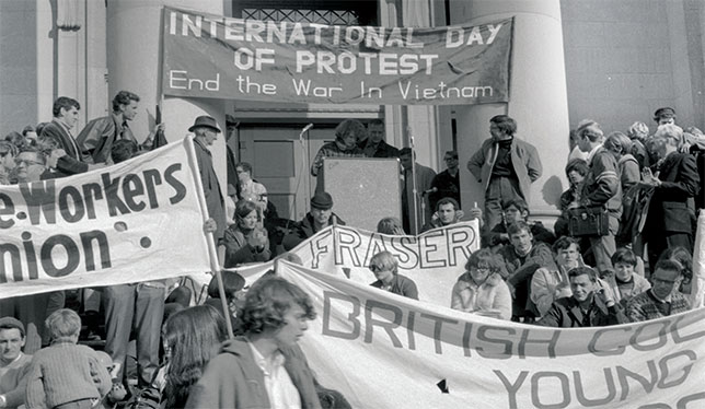 Simon Fraser University students at a protest in Vancouver.